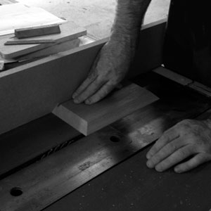Wood is carefully cut to exact specifications
